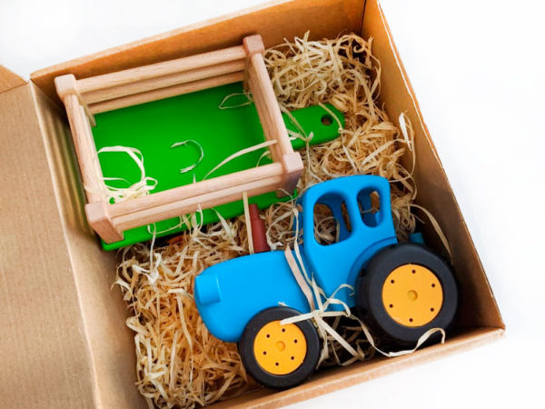 Baby toy blue tractor in box